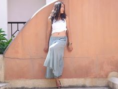 Wide Leg Pants  ...Skirt Pants  ...Color Pale Green by Ablaa, $28.00
