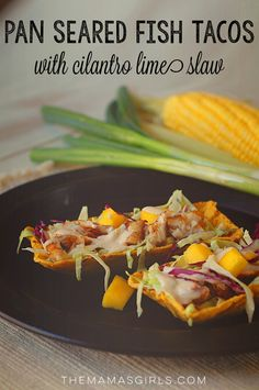 Pan Seared Fish Tacos with Cilantro Lime Slaw-