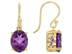 Stratify(Tm) 2.87ctw Oval African Amethyst 18k Yellow Gold Over Sterling Silver Dangle Earrings