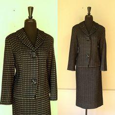 Hanro of Switzerland Black & Gray Check Jacket and Skirt