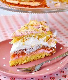 Rhubarb pie with meringue and whipped cream Meringue Cake, Rhubarb Pie, Christmas Appetizers, Whipped Cream, Vanilla Cake, Cake Recipes, Sandwiches, Food And Drink, Favorite Recipes