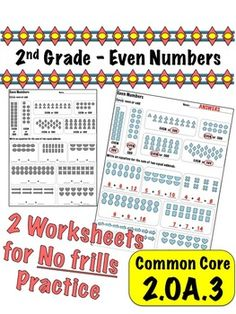 2nd Grade Even Numbers - Common Core 2.OA.3 $1