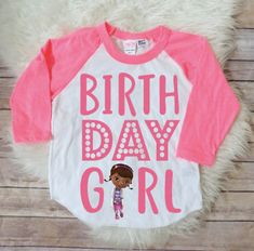Doc Mcstuffins birthday shirt, dos mcstuffins birthday party, matching family, doc mcstuffins theme, disney birthday shirt, pink font by JADEandPAIIGE on Etsy https://www.etsy.com/listing/572389106/doc-mcstuffins-birthday-shirt-dos