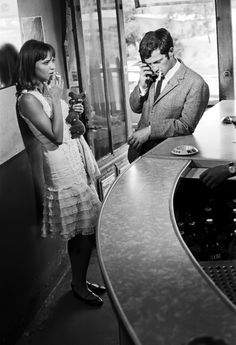 Anna Karina & Jean-Paul Belmondo on the set of Jean-Luc Godard's Pierrot le fou (1965).