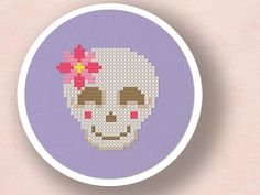 Smiling Skull with Flower. Cross Stitch PDF Pattern by andwabisabi