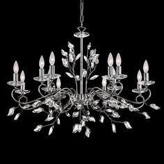 "Josey Chrome 37""W 12-Light Clear Crystal Leaf Chandelier - #8G574 | LampsPlus.com"