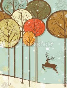 Christmas forest and reindeer Royalty Free Stock Vector Art Illustration