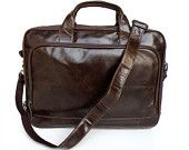 Men's Business Genuine Leather Briefcase Laptop CrossBody Messenger Drawstring Handbag Brwon