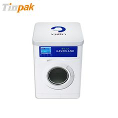 This square custom tin like a washing machine which really attractive. With two round windows on body front and back you could see the things inside clearly.