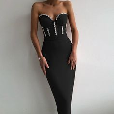 BEDOLA Strapless Sleeveless Drill Chain Midi Bandage Dress – PinkApple Dresses Strapless Dress Formal, Formal Dresses, Club Parties, Evening Cocktail, Drill, Red Carpet, Backless, Spring Summer, Celebrities