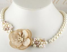 Bridesmaids necklace in your color scheme with Dupioni Silk Flower and Czech Pearls- Gentle Bloom