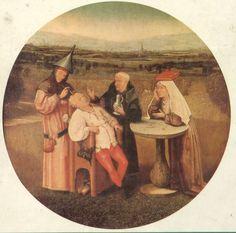 El Bosco muestra la locura y la credulidad humanas. Lo que se representa en La extracción de la piedra de la locura es una especie de operación quirúrgica que se realizaba durante la Edad Media, y que según los testimonios escritos sobre ella consistía en la extirpación de una piedra que causaba la necedad del hombre.