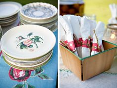 Mismatched vintage china and simple, bright napkin holders. - so cute for like maybe a tea party type shower or vintage?? LOVE this