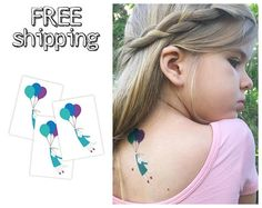 """Set of 3 """"Cat with balloons"""" tatts. Kids temporary tattoos with cute design and summertime mood. Skin-safe. TT035"""