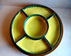 Vintage Yellow and Green Drip Glaze Lazy Susan Server Set 6 Pieces, 60s Kitchenware, Serving, Wedding, California Pottery Chip Dip Set