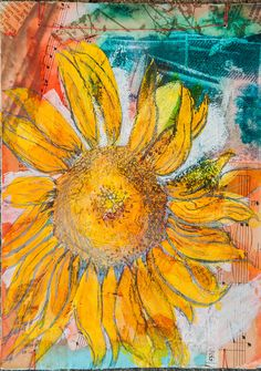 Mixed Media Flower Drawing Sunflower by BobbisMixedMediaArt,