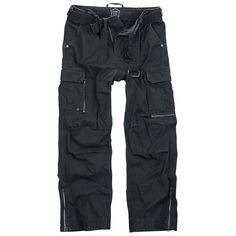 """EMP Black Premiumin """"Royal Vintage Trousers"""" -vapaa-ajan housut. Erittäin paksut vintage-housut vintage-vyöllä. Lahkeen leveys säädettävissä vetoketjulla. 100% puuvillaa."""