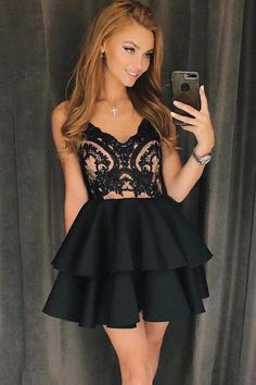Lace Black Prom Dress, Black Homecoming Dresses, Lace Homecoming Dresses, Homecoming Dresses Short, Prom Dress A-Line Wedding Dresses 2018 Cheap Homecoming Dresses, Hoco Dresses, Lace Party Dresses, Black Wedding Dresses, Lace Dress, Dress Prom, Dress Wedding, Tulle Lace, Lace Bodice