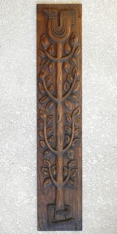 "vintage ""Tree Of Life"" carved solid oak wall panel designed by Evelyn Ackerman. produced by ERA Industries, company started by Evelyn & Jerry Ackerman to produce/sell their creations. 7"" wide"" x 36"" tall x 3/4"" thick."
