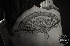My second tattoo. By Ryan from Tainted Skin, Crown Point, IN Victorian lace fan with cactus flower