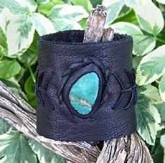 Deer Leather and Fox Turquoise Cuff by Deborah & Russell Shamah