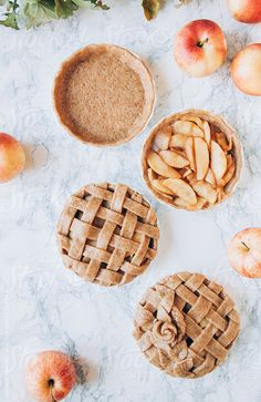 Preparing a delicious apple pie with autumnal decoration