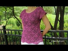Crochet blouse wonderful - Pineapple Pattern Free | Yarn Crochet Patterns Free