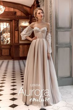 Champagne Prom Dresses 2020 Long Sleeve A Line Tulle Off The