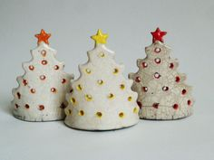 Christmas Tree tea light holders - in Raku 8 cm high
