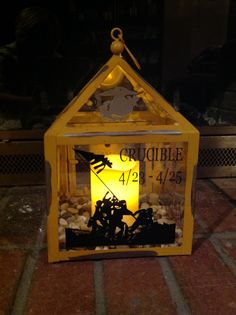 Vinyl Iwo Jima Memorial and Eagle Globe and Anchor on lantern and used for my Crucible candle.