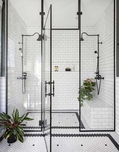 Home Interior Design black and white bathroom walk in shower with built in seat.Home Interior Design black and white bathroom walk in shower with built in seat Bathroom Goals, Bathroom Inspo, Bathroom Interior, Bathroom Inspiration, Shower Bathroom, Design Bathroom, Art Deco Bathroom, Bathroom Carpet, Cool Bathroom Ideas