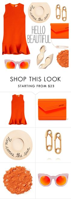 """Hello Beautiful!"" by alexandrazeres ❤ liked on Polyvore featuring Victoria, Victoria Beckham, Jimmy Choo, Eugenia Kim, Paul Andrew, IaM by Ileana Makri, Illamasqua, Delalle, Latelita, orange and fashionset"