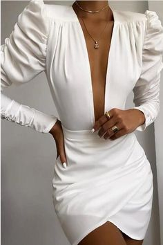 2020 Women Fashion Elegant Long Sleeve V Neck Solid Puff Sleeve Ruched Bodycon Dress White Office Ladies Mini Bodycon Dress Look Fashion, Womens Fashion, Fashion Tape, Fall Fashion, Latest Fashion, High Fashion, Elegantes Outfit, Mode Outfits, Classy Outfits