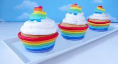 Edible cupcake cups made with a rainbow of colored marshmallow fondant for St. Patrick's Day, Earth Day, or any day.