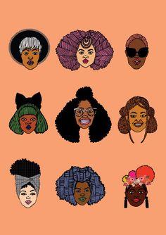 Black Hair Magic Print Gift Set Art Print by DorcasCreates