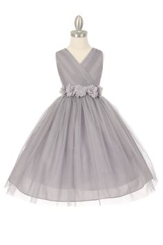 Silver/White Tulle V-Neck with Removable Floral Sash Flower Girl Dress