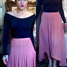 """Anthropologie Sanctuary salmon pink hi-lo skirt Used. It's too long for me. I'm only 5'2"""". Says XS but I bet it would fit a small or medium. It's high waisted on me. Anthropologie Skirts High Low"""
