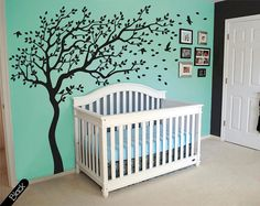 Tree wall decal huge tree wall decals nursery wall decor large wall mural tree shape kids room wall decoration cute birds and leaves - 090