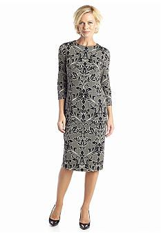 London Times Printed Midi Sheath Dress