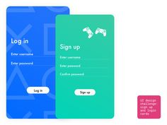 UI Challenge #1 - Sign up and login cards