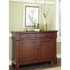 Home Styles Aspen Rustic Cherry Sideboard at Lowe's. Create ambiance with a perfect balance of warmth and style with The Aspen Collection Buffet by Home Styles. Mahogany solids, Engineered Wood, and cherry Buffet Cabinet, Sideboard Buffet, Wood Buffet, Low Cabinet, Storage Drawers, Storage Spaces, Kitchen Storage, Entryway Storage, Pantry Storage