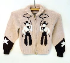 cowboy cardigan - 1950s - childs vintage cowichan style sweater with cowboy motif