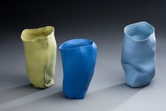 handmade, colored porcelain juice cups. Molly Bernstein