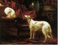 Carl Kahler - The Confrontation with Borzoi Archival Fine Art Paper Print