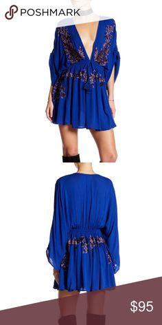 Free People pineapple 🍍 dress Vintage dress, lightweight fabric. Feature V- neckline. 100% rayon. Free People Dresses Mini