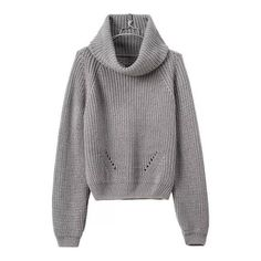 SheIn(sheinside) Turtleneck Crop Grey Sweater (180 HKD) ❤ liked on Polyvore featuring tops, sweaters, shirts, jumpers, grey, cropped sweater, cowl neck sweater, long sleeve tops, gray turtleneck sweater and grey shirt
