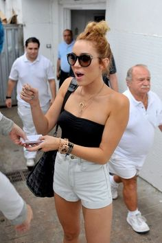 black tube top + high waisted shorts + jewelry