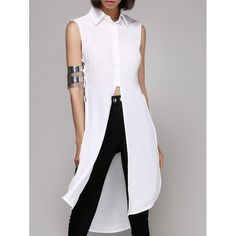 19.32$  Buy now - http://dix75.justgood.pw/go.php?t=183688701 - Stylish Lace-Up Shirt Collar Pure Color Split Shirt For Women 19.32$