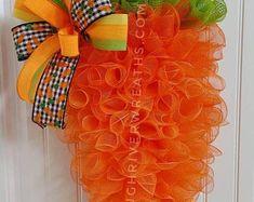 Crochet easter wreath door decoration easter door wreath door   Etsy Spring Door Wreaths, Easter Wreaths, Holiday Wreaths, Burlap Ribbon, Burlap Wreath, Lighted Wreaths, Easter Crochet, Frame Wreath, Carrot