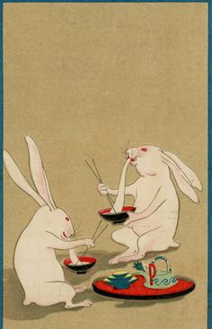 Japanese Art Modern, Japanese Artwork, Japanese Prints, Japan Illustration, Graphic Design Illustration, Era Edo, Japanese Folklore, Rabbit Art, Photography Illustration